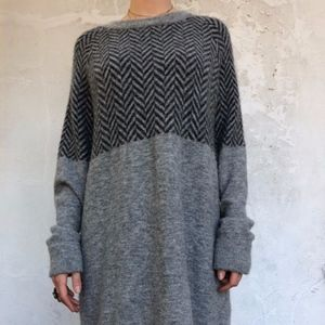 Grey and black sweater dress